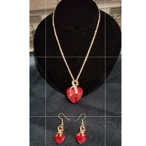 New Beautiful red hearts necklace & earrings set